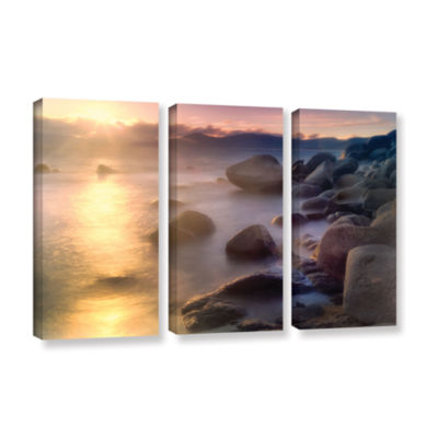 Brushstone Rocks And Water 3-pc. Gallery Wrapped Canvas Wall Art