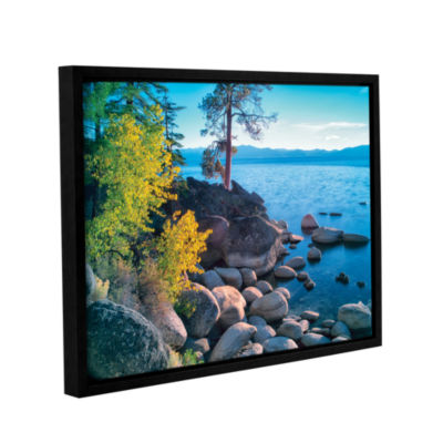 Brushstone Rocky Coastline Gallery Wrapped Floater-Framed Canvas