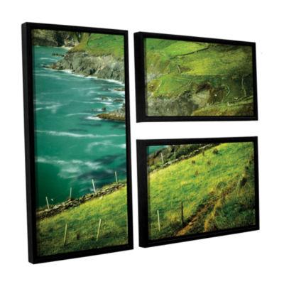 Brushstone Sea Green 3-pc. Floater Framed Canvas Flag Set