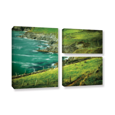 Brushstone Sea Green 3-pc. Gallery Wrapped CanvasFlag Set