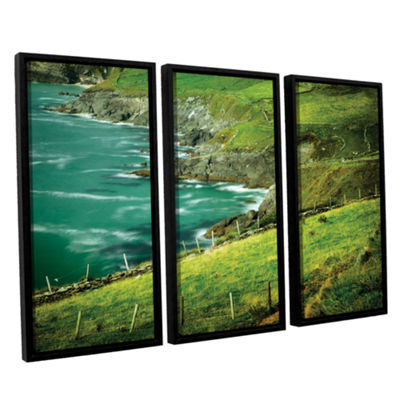 Brushstone Sea Green 3-pc. Floater Framed Canvas Wall Art