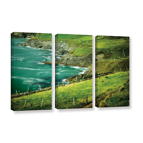 Brushstone Sea Green 3-pc. Gallery Wrapped CanvasSet