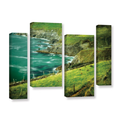 Brushstone Sea Green 4-pc. Gallery Wrapped CanvasStaggered Set