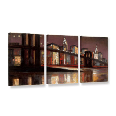 Brushstone NYC Nighttime 3-pc. Gallery Wrapped Canvas Wall Art