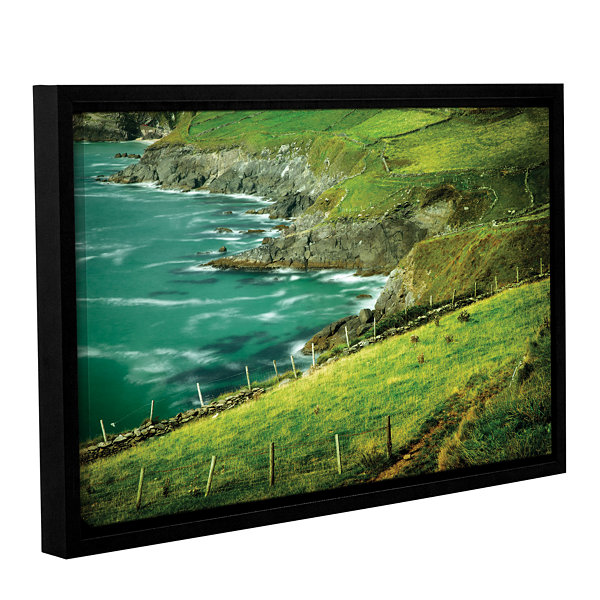 Brushstone Sea Green Gallery Wrapped Floater-Framed Canvas Wall Art