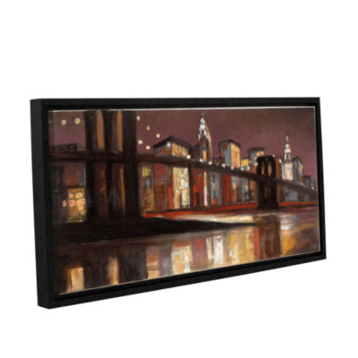 Brushstone NYC Nighttime Gallery Wrapped Floater-Framed Canvas Wall Art
