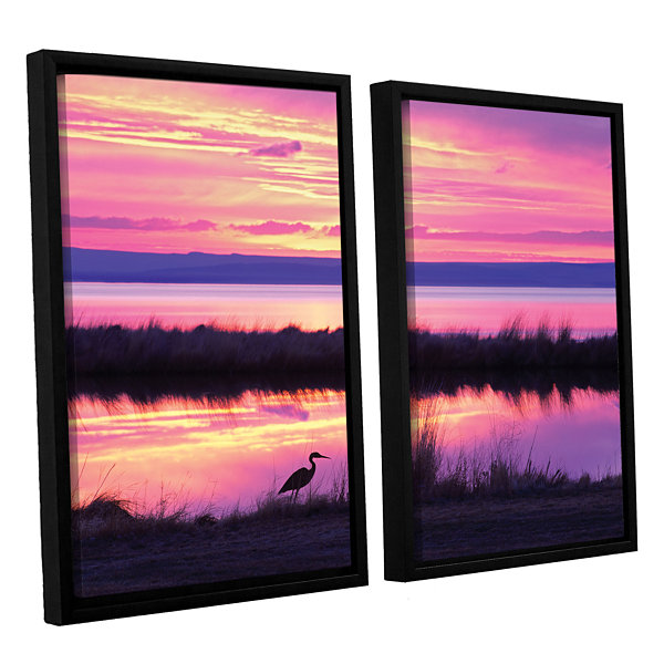 Brushstone Sunset Crane 2-pc. Floater Framed Canvas Set