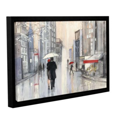 Brushstone Spring Rain New York Gallery Wrapped Floater-Framed Canvas Wall Art
