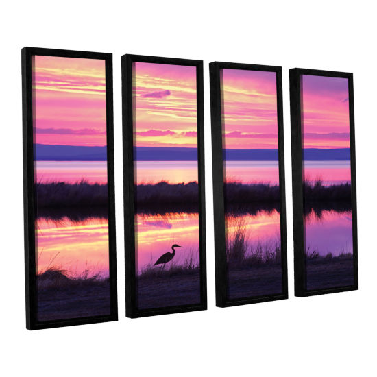 Brushstone Sunset Crane 4-pc. Floater Framed Canvas Set