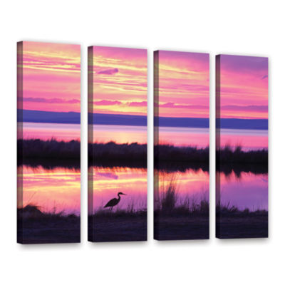 Brushstone Sunset Crane 4-pc. Gallery Wrapped Canvas Set