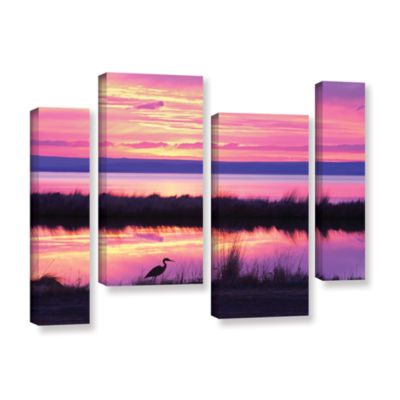 Brushstone Sunset Crane 4-pc. Gallery Wrapped Canvas Staggered Set