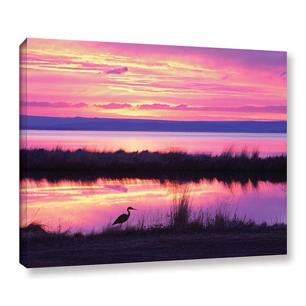 Brushstone Sunset Crane Gallery Wrapped Canvas