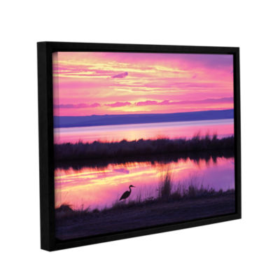 Brushstone Sunset Crane Gallery Wrapped Floater-Framed Canvas