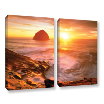 Brushstone Tide Rolls In 2-pc. Gallery Wrapped Canvas Set