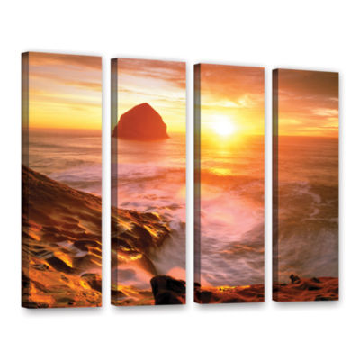 Brushstone Tide Rolls In 4-pc. Gallery Wrapped Canvas Set