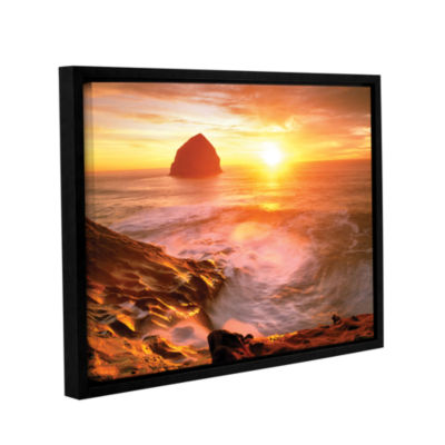 Brushstone Tide Rolls In Gallery Wrapped Floater-Framed Canvas