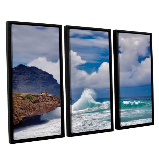 Brushstone Wave Hello 3-pc. Floater Framed CanvasSet