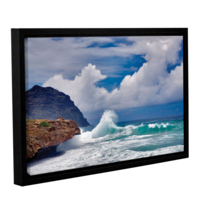 Brushstone Wave Hello Gallery Wrapped Floater-Framed Canvas