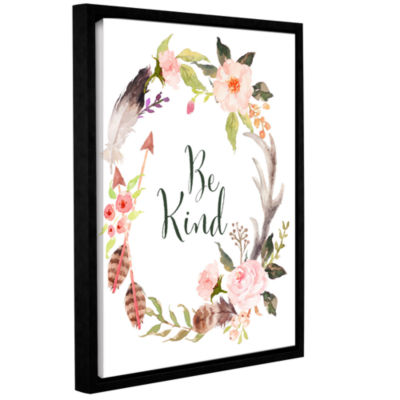 Brushstone Be Kind Wreath Gallery Wrapped Floater-Framed Canvas