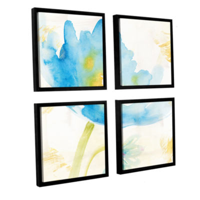 Brushstone Breeze Bloom II 4-pc. Square Floater Framed Canvas Wall Art