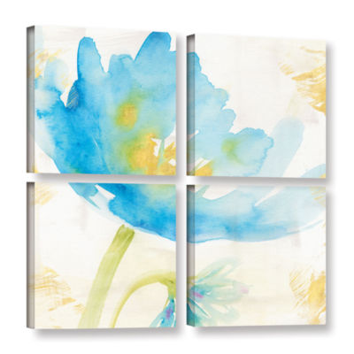 Brushstone Breeze Bloom II 4-pc. Square Gallery Wrapped Canvas Wall Art