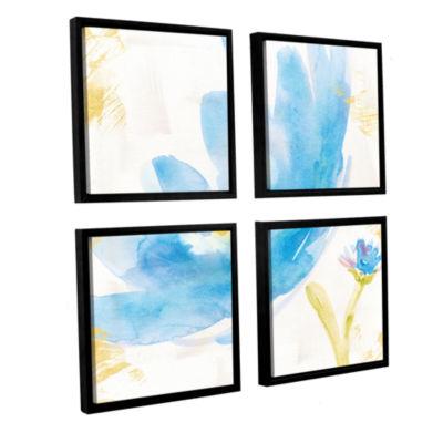 Brushstone Breeze Bloom V v2 4-pc. Square Floater Framed Canvas Wall Art