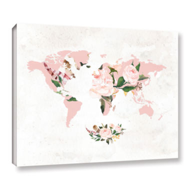 Brushstone Floral Watercolor Map Gallery Wrapped Canvas