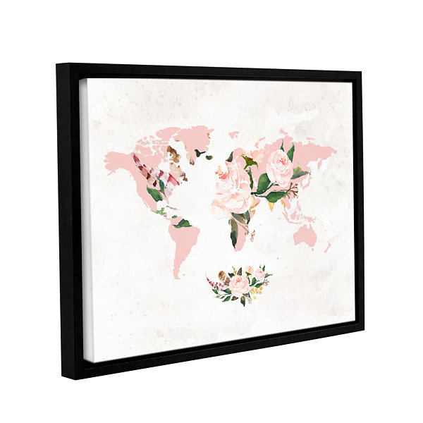 Brushstone Floral Watercolor Map Gallery Wrapped Floater-Framed Canvas