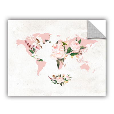 Brushstone Floral Watercolor Map Removable Wall Decal