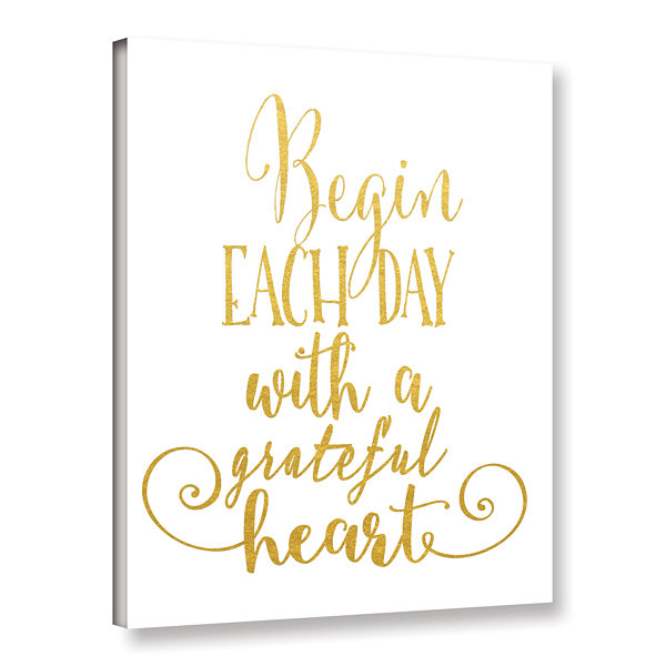 Brushstone Grateful Heart Gold Gallery Wrapped Canvas Wall Art