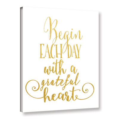 Brushstone Grateful Heart Gold Gallery Wrapped Canvas