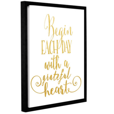 Brushstone Grateful Heart Gold Gallery Wrapped Floater-Framed Canvas