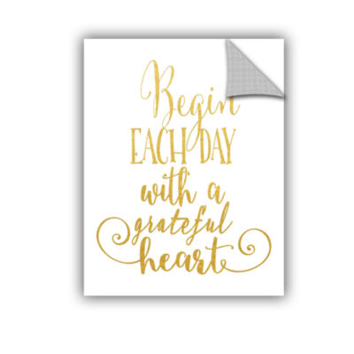 Brushstone Grateful Heart Gold Removable Wall Decal