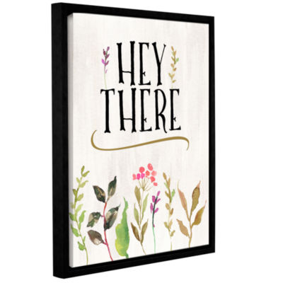 Brushstone Hey There Flowers Cream BG Gallery Wrapped Floater-Framed Canvas