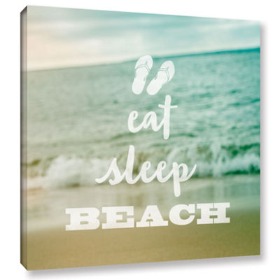 Brushstone Eat Sleep Beach Gallery Wrapped CanvasWall Art