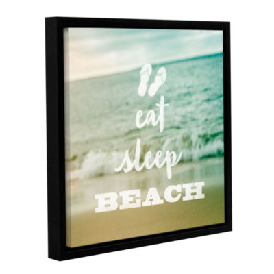 Brushstone Eat Sleep Beach Gallery Wrapped Floater-Framed Canvas Wall Art