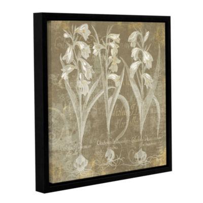 Brushstone Flower Lines I Gallery Wrapped Floater-Framed Canvas Wall Art