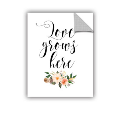 Brushstone Love Grows Here Floral Removable Wall Decal
