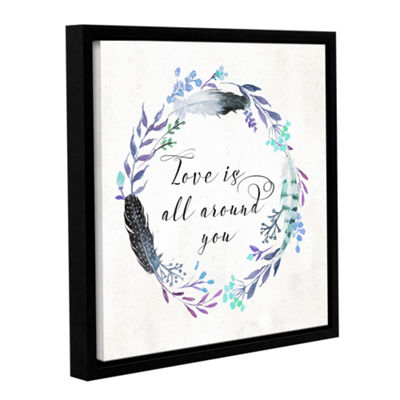 Brushstone Love is All Around You Square Gallery Wrapped Floater-Framed Canvas