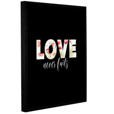 Brushstone Love Never Fails Floral Gallery WrappedFloater-Framed Canvas