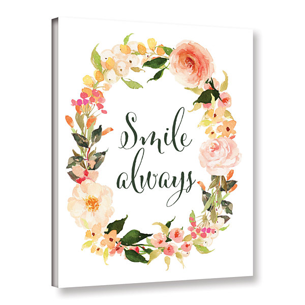Brushstone Smile Always Wreath Gallery Wrapped Canvas