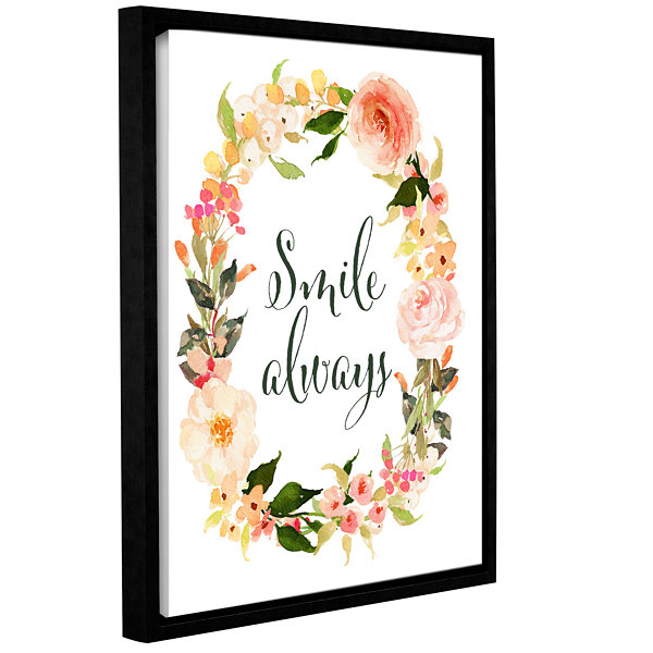 Brushstone Smile Always Wreath Gallery Wrapped Floater-Framed Canvas