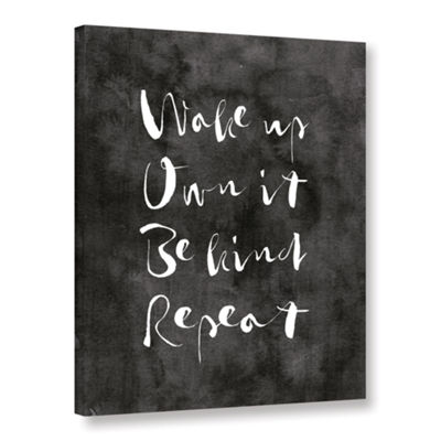 Brushstone Wake up Own it Black Gallery Wrapped Canvas