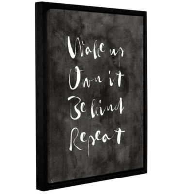 Brushstone Wake up Own it Black Gallery Wrapped Floater-Framed Canvas