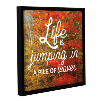 Brushstone Life is for Jumping Gallery Wrapped Floater-Framed Canvas Wall Art