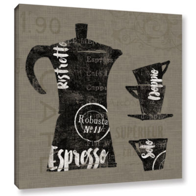 Brushstone Linen Coffee I Gallery Wrapped Canvas Wall Art