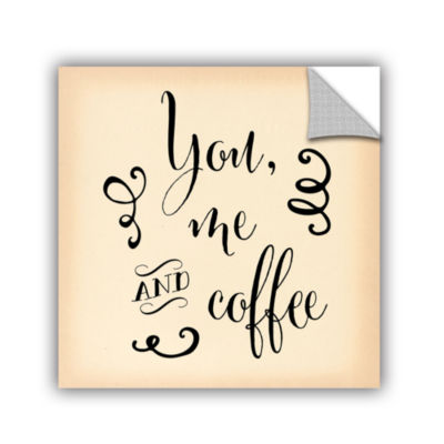 Brushstone You Me and Coffee w bkgrd Removable Wall Decal