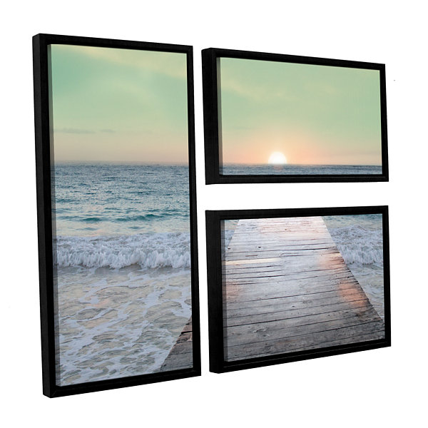 Brushstone Sunrise Dock 3-pc. Flag Floater FramedCanvas Wall Art