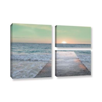 Brushstone Sunrise Dock 3-pc. Flag Gallery WrappedCanvas Wall Art