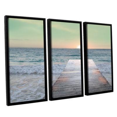 Brushstone Sunrise Dock 3-pc. Floater Framed Canvas Wall Art
